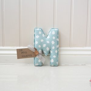 Personalised Wall Letter Maeve - personalised childrens bedroom wall decor. 22cm Fabric letters handmade to order. Made in the Studio G Clio Mineral blue fabric. Shop small this Christmas