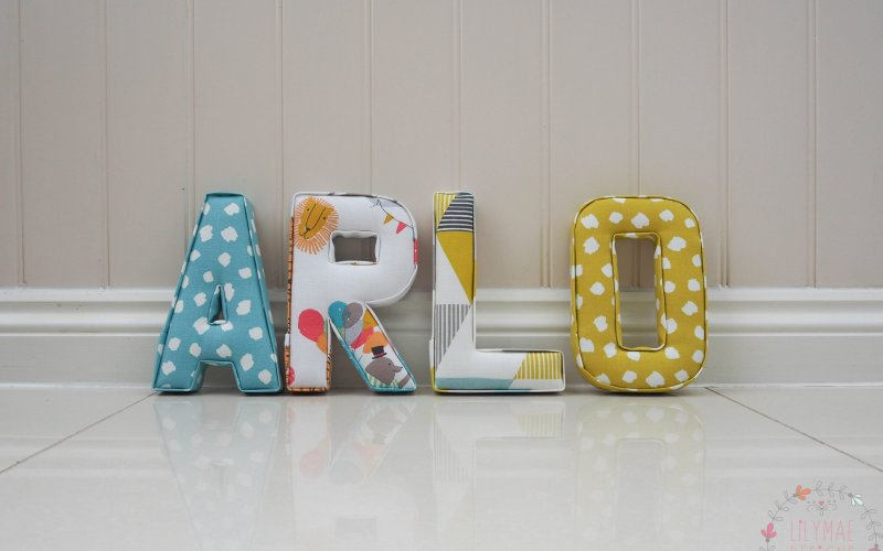 Bright boys nursery and bedroom wall fabric letters ideas. Circus theme fabric