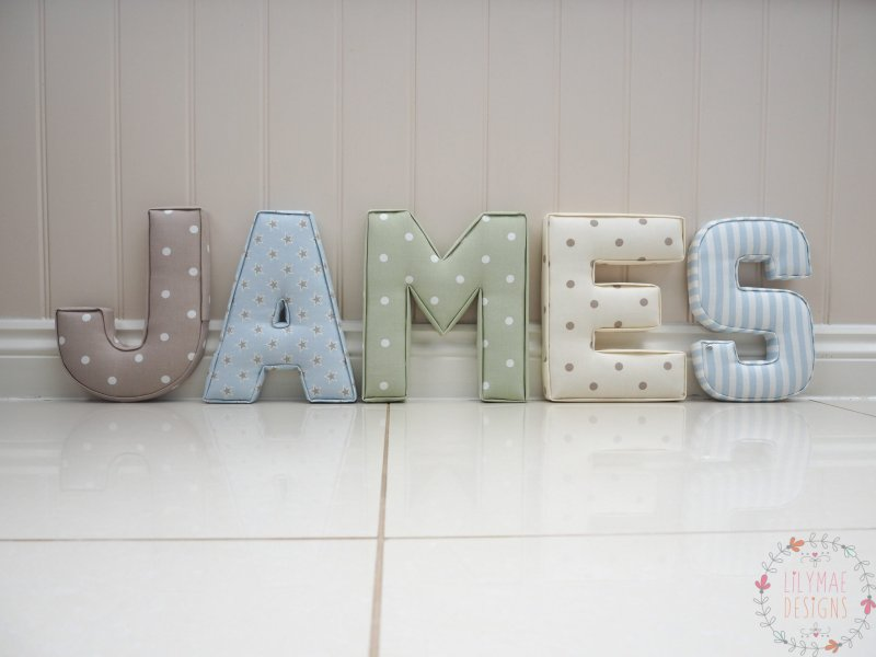 Extra Large Fabric Letters Personalised nursery wall letters name James. Dotty Taupe, Shooting Srat Sky, Dotty Sage, Dotty Natural, Party Stripe Sky. Nursery interior