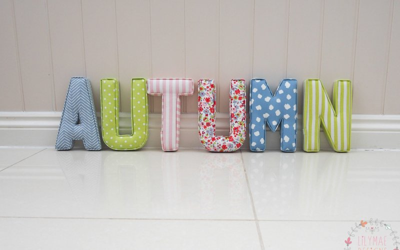 Autumn initial letters for bedroom. Pink, blue and green fabrics.