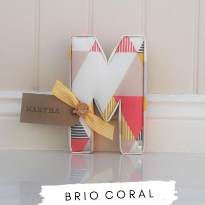 Fabric Letters Brio Coral. Studio G Coral Pink fabric letter M with personalised name tag Martha. Lilymae Designs