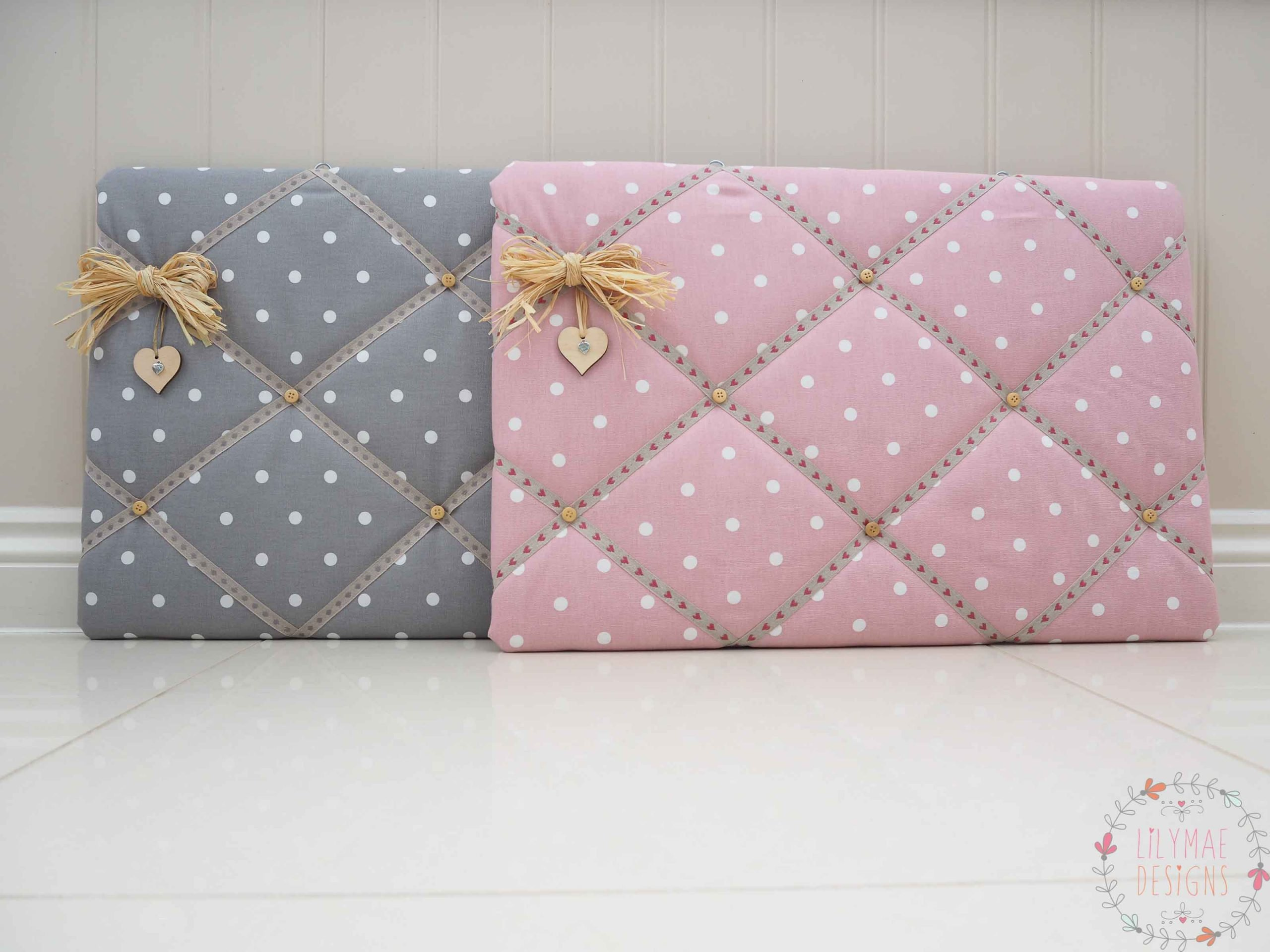 Fabric memo boards handmade to order in Dotty rose and Dotty Smokey Grey. Kitchen Notice board, Christmas present for mum. Lilymae Designs Price List