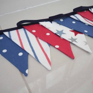 red, white and blue fabric bunting