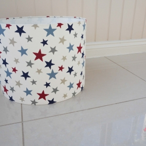 kids room giant lampshade red, blue, grey and navy stars
