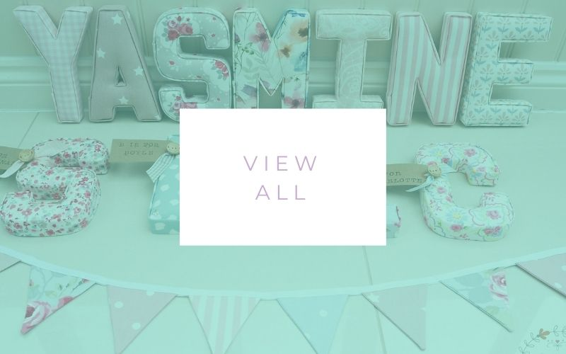 shop page featuring fabric letters  Lilymae Designs