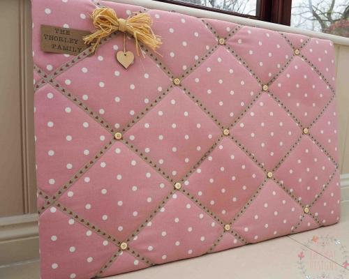 Family notice board keepsake display board. display kids homework school work drawings dotty pink fabric