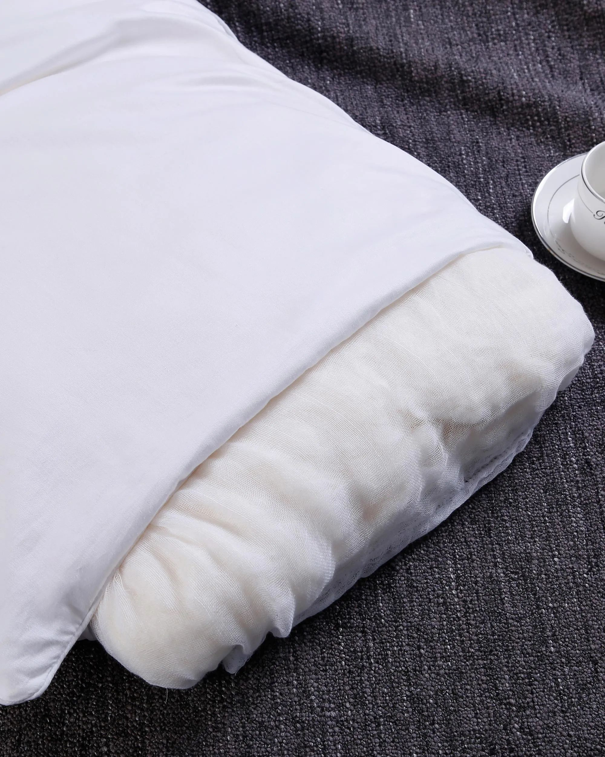 silk filled pillow with cotton shell