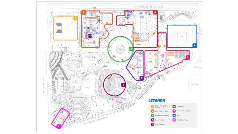Mapa interno del parque de la Exposición