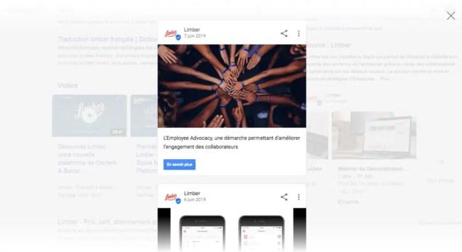 Fiche Google My Business - Contenus - Limber