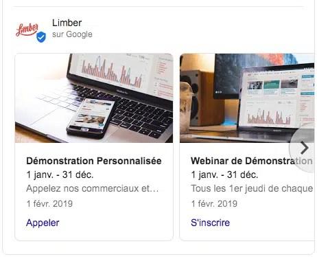 Fiche Google My Business - Section Produits - Limber