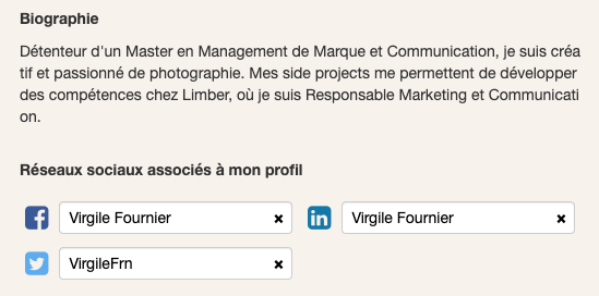Biographie et Réseaux Sociaux - Page Profil - Limber