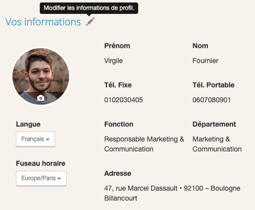 Informations - Page Profil - Limber