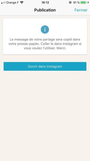 Ouvrir Instagram - Limber