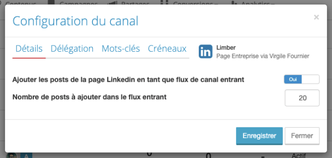 Configuration du canal Page LinkedIn - Limber