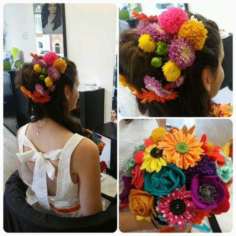 Fresh Flower/PomPom Hair Up