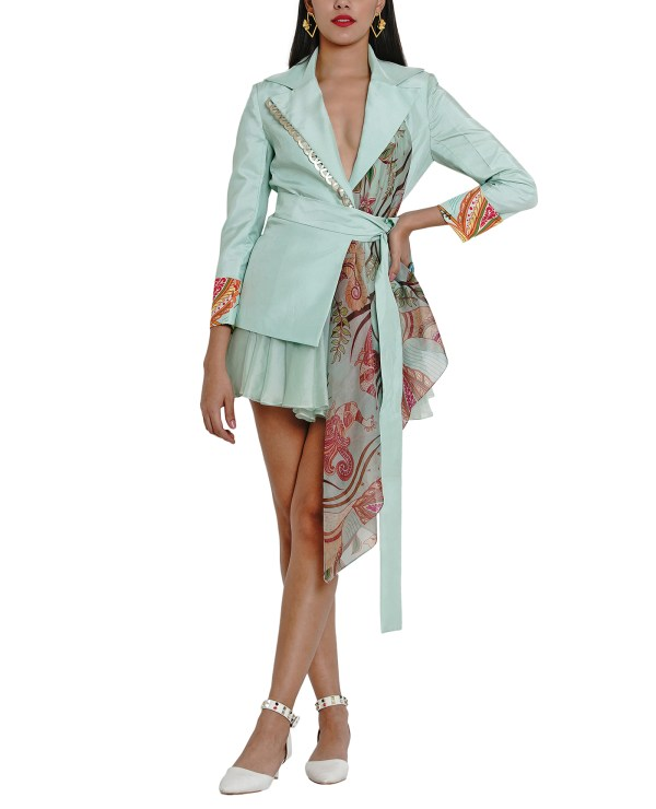 Printed Embroidered Wrap Jacket