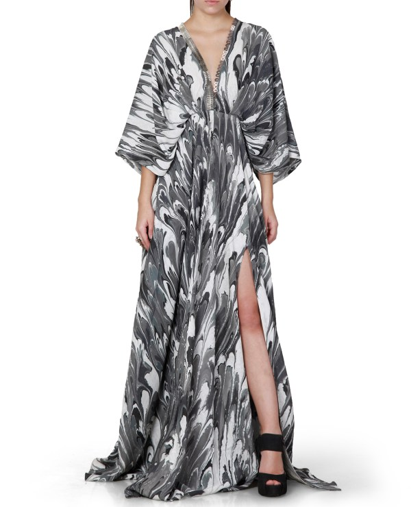 Printed Embroidered Kaftan Dress