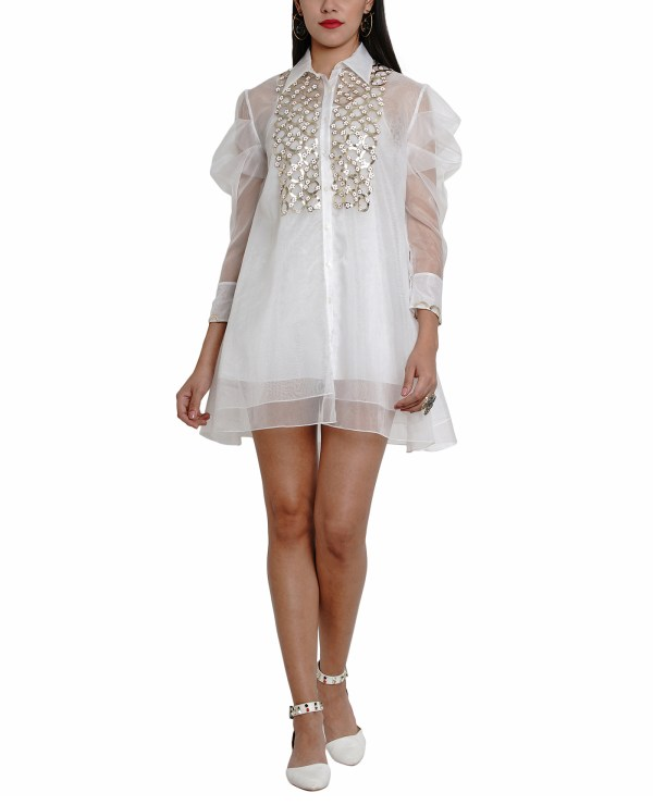 Embroidered Sheer layered Shirt-Dress