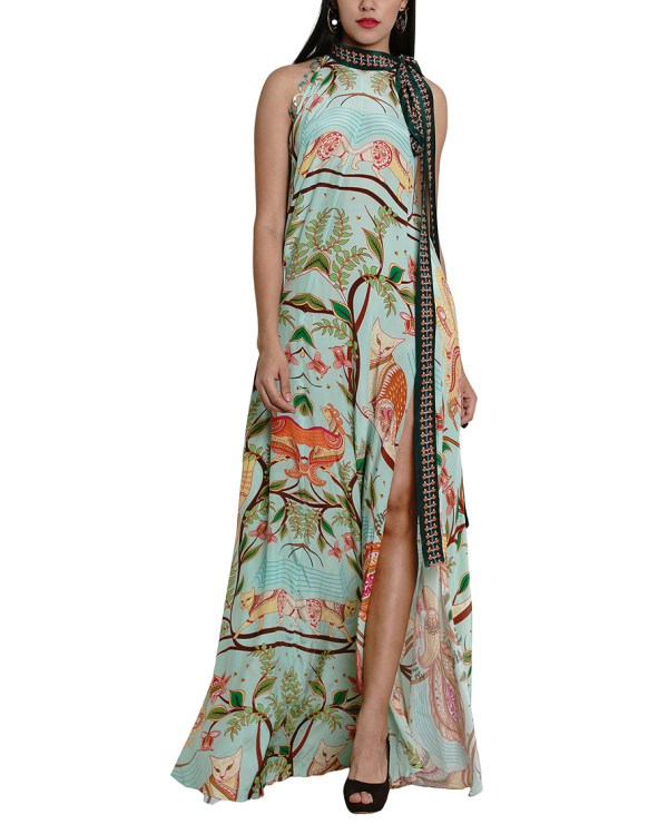 Printed Embroidered Maxi