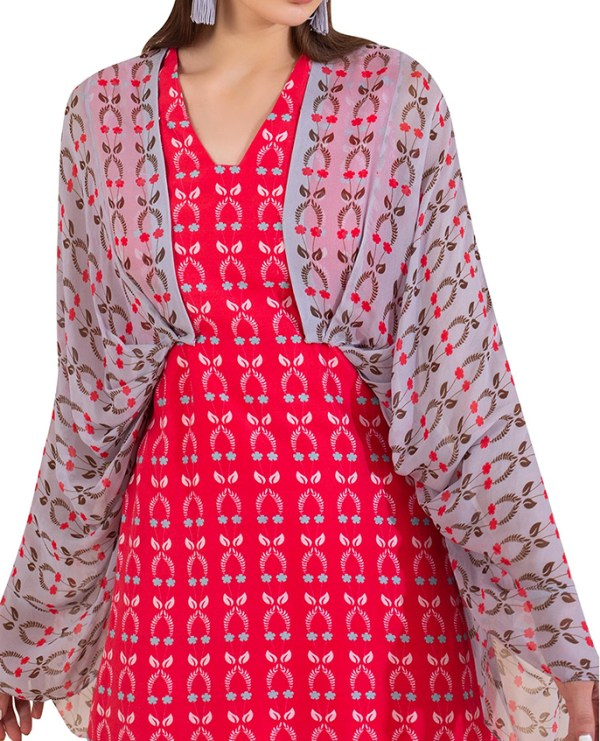 Attached Pleated Cape Jacket with Printed Dress