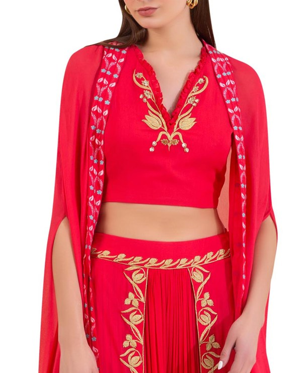 Overlap Embroidered Pleated Palazzo with Cape and Embellished Blouse