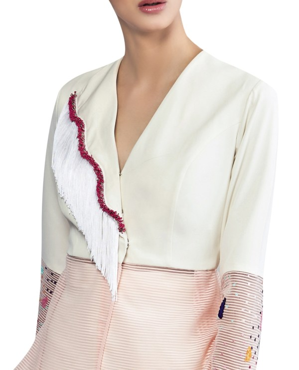 Peplum Jacket with Embroidered Sleeves and Lapel