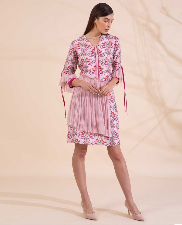 Floral Printed Dress with Pleats