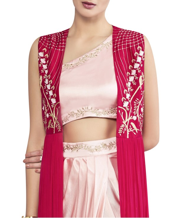 Embroidered Jacket with Draped Skirt and Top