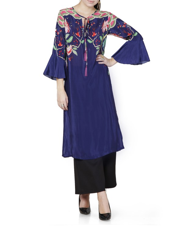 Printed Tunic with Bell Sleeves