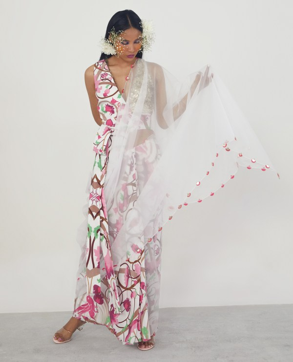 Sari with Embroidered Bustier and Half Jacket