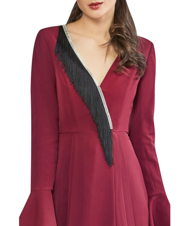 Fringe Embellished Wrap Dress