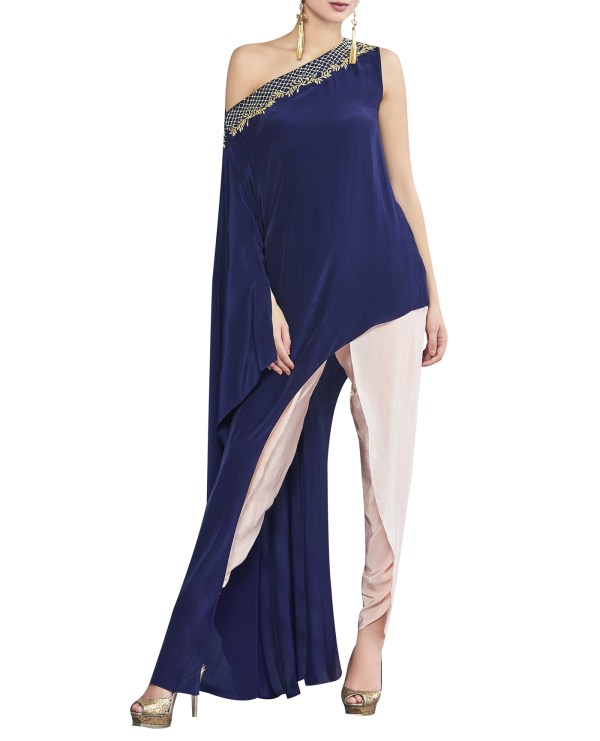 Asymmetrical Embroidered Cape Dhoti set
