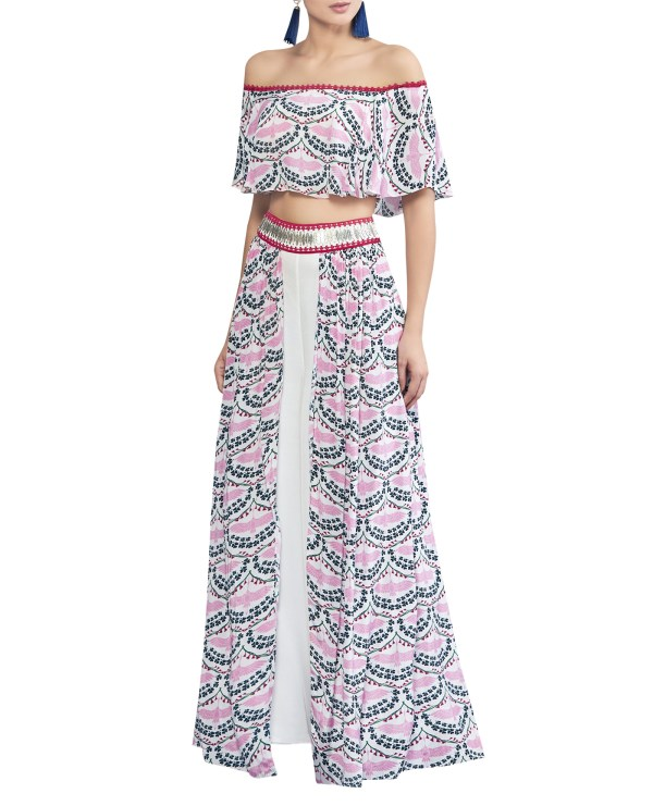 Embroidered Printed Crop Top Set