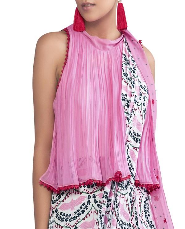 Pre Draped Embroidered Sari Dress