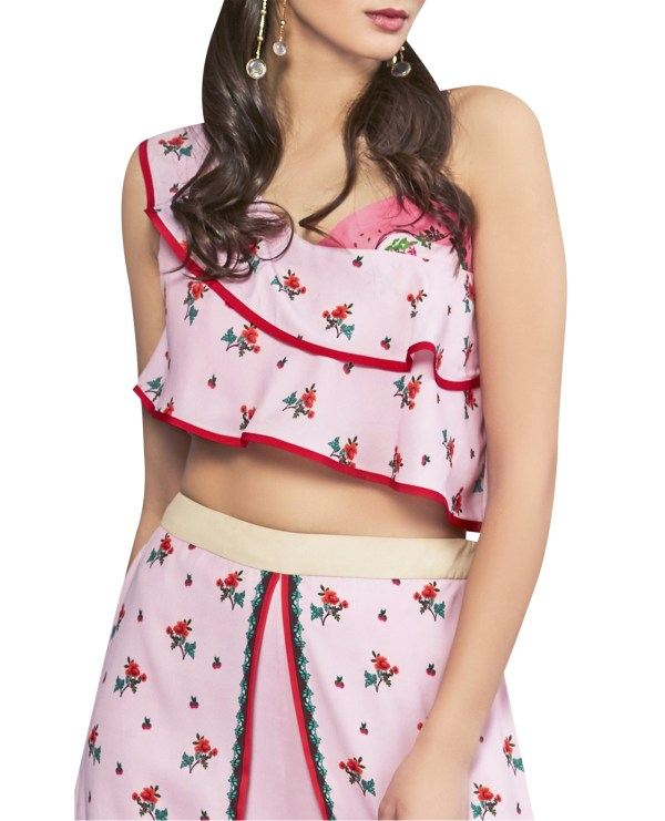 Ruffled Printed Crop Top