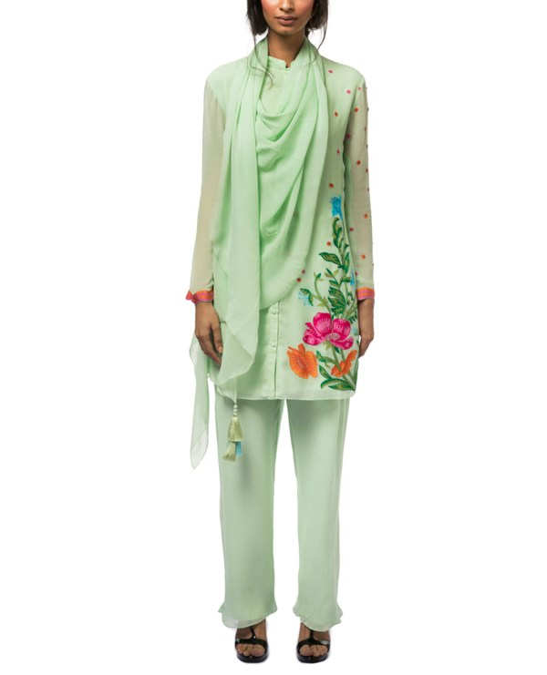 Embroidered Tunic Set with Attached Drape