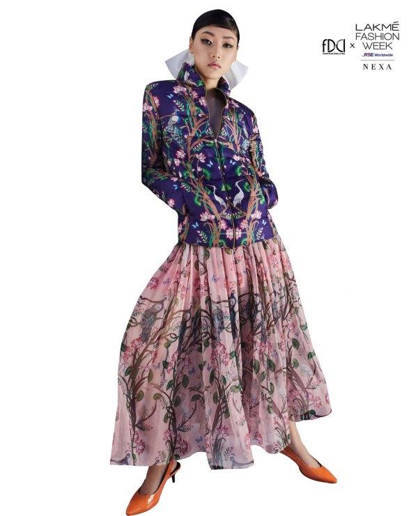 Printed sheer skirt