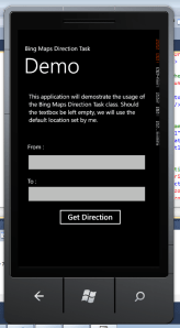 Bing Map Direction Task Demo Source Code Screenshot