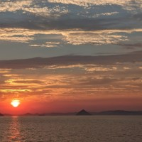 Summer solstice sunset over the Seto Inland Sea of Japan