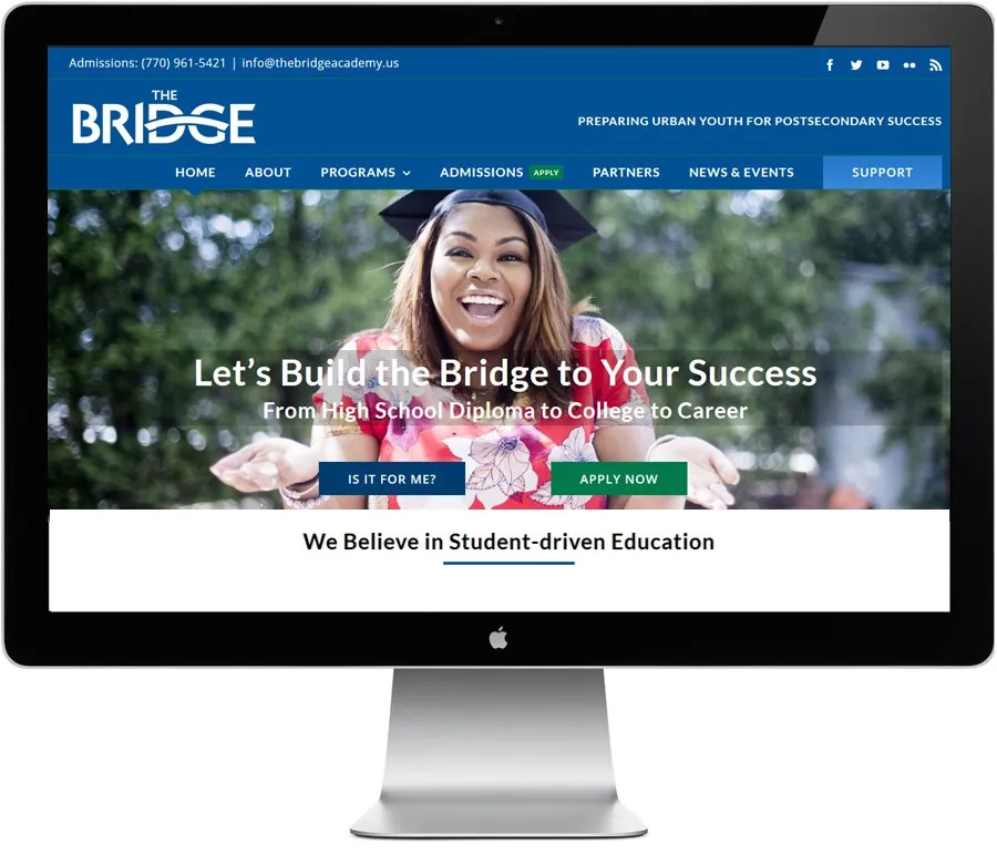 The Bridge Academy -- Admissions website design by LIMIT8 Design