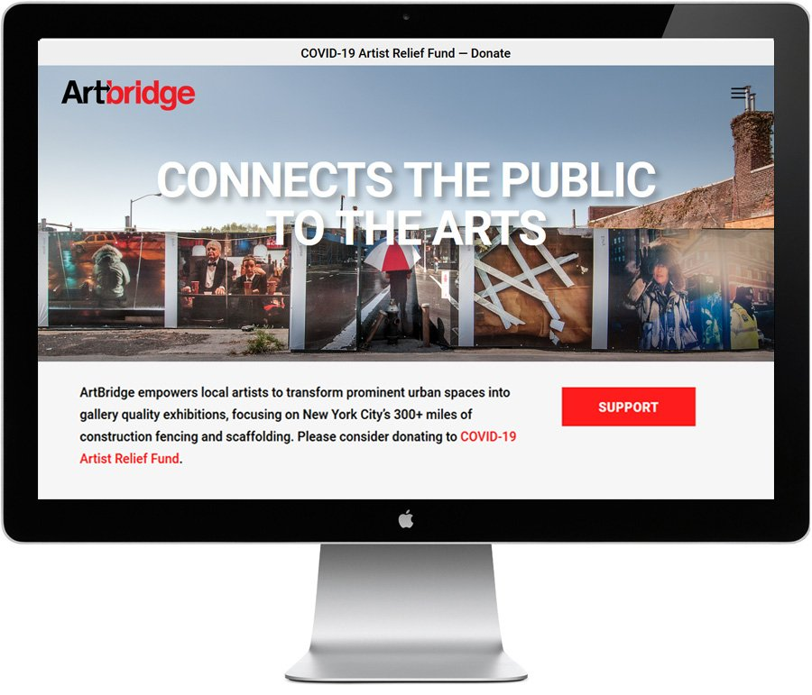ArtBridge -- Home page, website design by LIMIT8 Design
