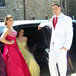 prom limo group of teens