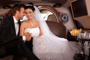 this couple used wedding limo rental service