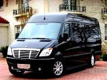 Picture of black mercedes sprinter van for CT group transportation