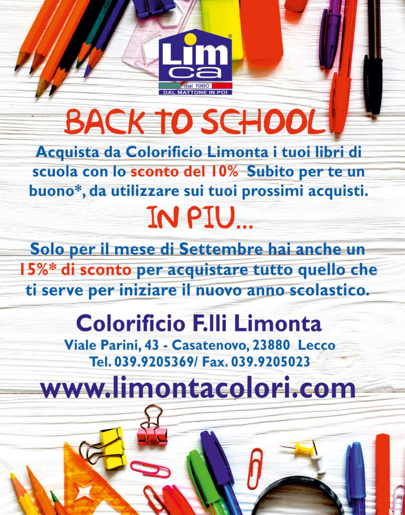 Back to school - offerta del colorificio Limonta sull'acquisto di materiale scolastico