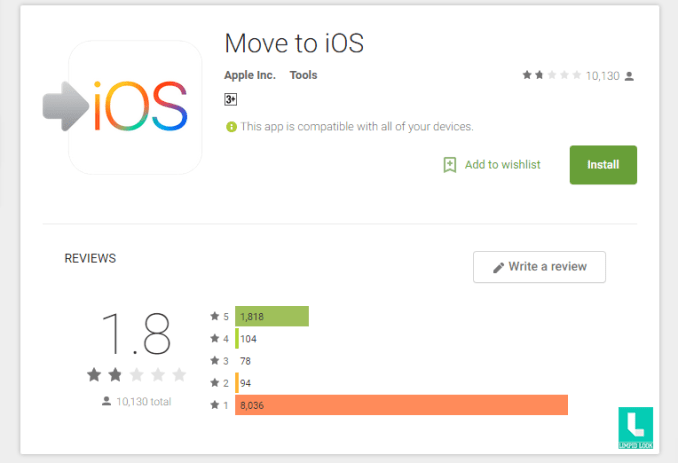 Move To iOS App Reviews on google play store