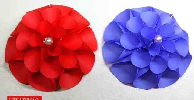 DIY Giant Dahlia Paper Flowers [How to make a flower wall]