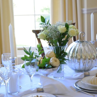 Silver and White Thanksgiving Table!