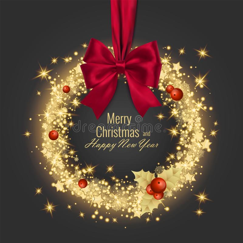 Merry Christmas Happy New Year Greeting Card Vector