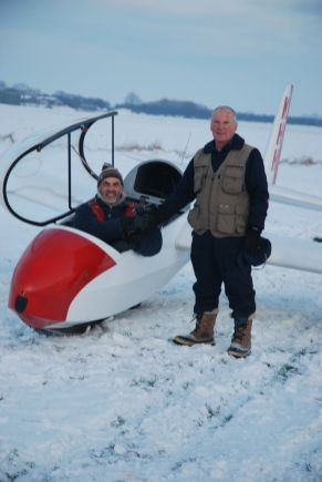 A very snowy day to be gliding solo for the first time